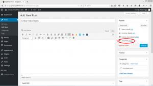 Gray SEO indicator on a blank WordPress Post