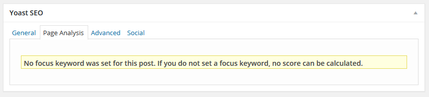 Yoast SEO No Focus Keyword Error message